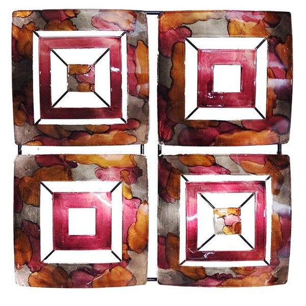 wonderful Square Metal Wall Decor Part - 19: Tabitha 4-Panel Square Metal Wall Decor - Burgundy, Copper u0026amp;