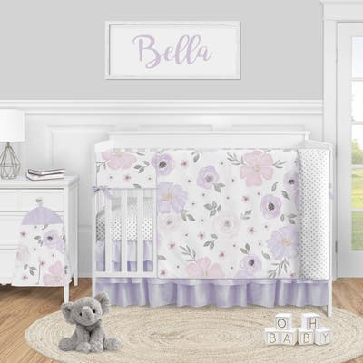 Lavender Watercolor Floral Collection Girl 5-piece Nursery Crib Bedding Set - Purple Pink Grey Shabby Chic Rose Flower Polka Dot