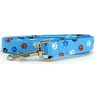 Aqua Red, White & Blue Paws Dog Leash