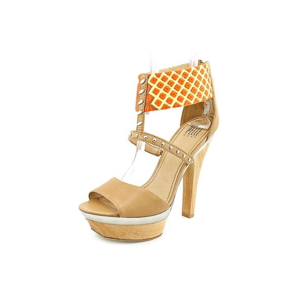 Pelle Moda Gali Women Open Toe Synthetic Tan Platform Sandal