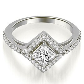 0.90 cttw. 14K White Gold Halo Princess Cut Diamond Engagement Ring