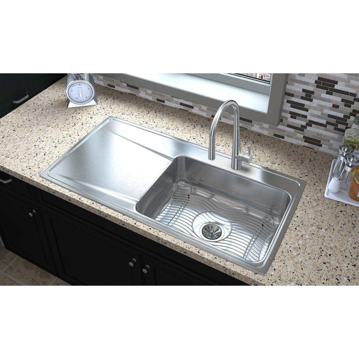 Elkay Lustertone Classic Stainless Steel 43 X 22 X 7 5 8 Single Bowl Drop In Sink With Drainboard On Sale Overstock 9276025
