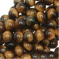 Tiger Tigers Eye Gem Round 6mm Beads/15.5 (Brown & Gold) - Thumbnail 0