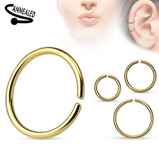 Annealed and Round Ends Titanium Anodized over Surgical Steel Cut Ring - 16GA (Sold Ind.)