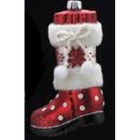 "4.5"" Noble Gems Glittered Glass Red and White Santa's Boot Christmas Ornament"