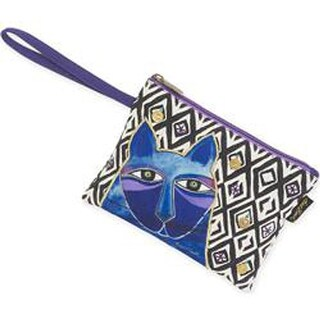 """Whiskered Cats - Blue - Wristlet 10""""X7"""""""