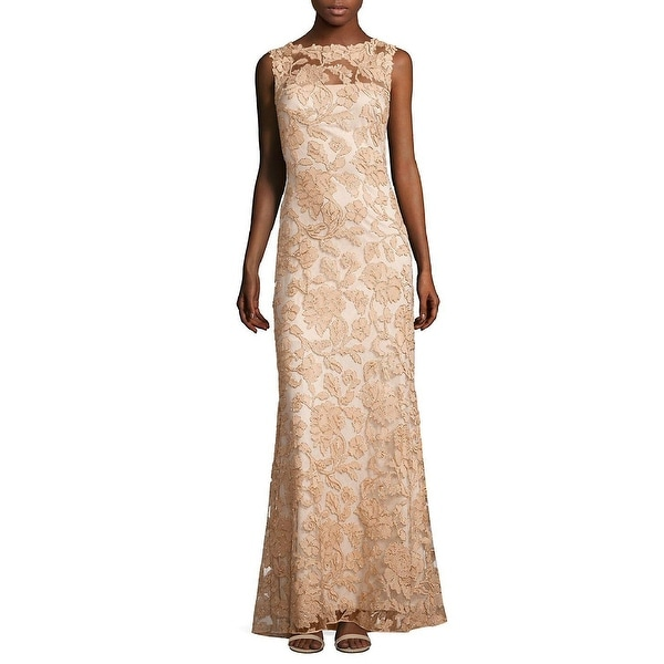 df34b26bc162 Shop Tadashi Shoji Sleeveless Floral Lace A-line Evening Gown Dress Peach  Blossom - Free Shipping Today - Overstock - 22966435