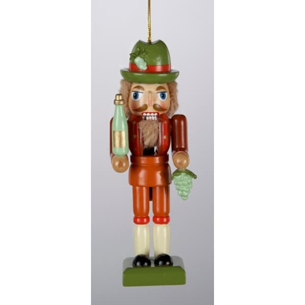 "4"" Tuscan Winery Wooden Nutcracker with Green Grape Cluster Christmas Ornament"