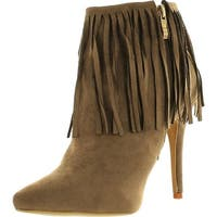 Adriana Shana-23 Women's Western Pointed Toe Fringe High Heel Ankle Booties