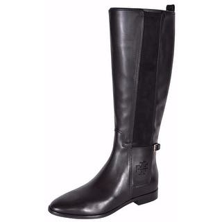 879644aa3 Tory Burch Women s Black Leather Wyatt Knee High T Logo Riding Boots 6