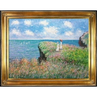 Claude Monet 'Cliff Walk at Pourville' Hand Painted Oil Reproduction