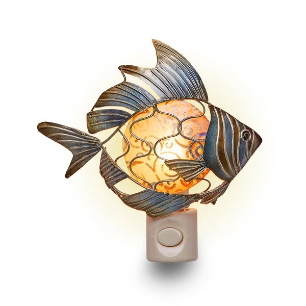 Set of 4 Metallic Blue and Brown Fish Silhouette Nightlights 6""