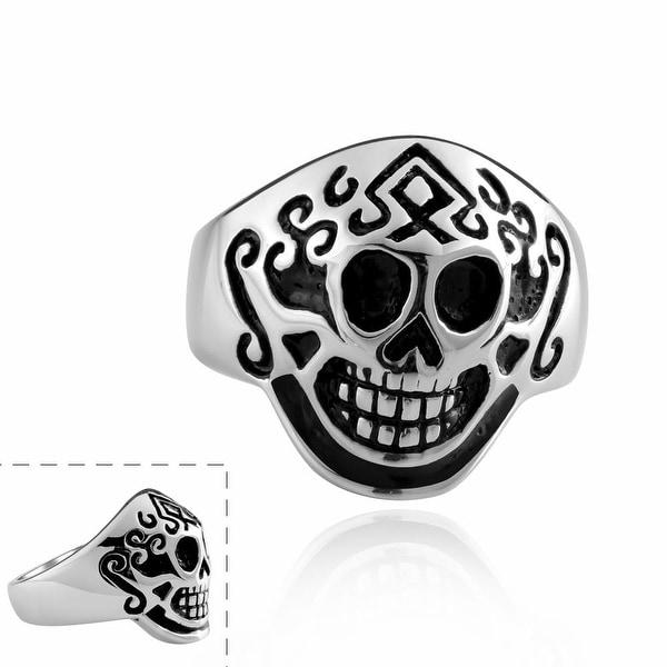 Vienna Jewelry Aztec Stainless Steel Skull Ring