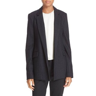 Theory NEW Black Womens Size 10 Sedeia Pinstripe Open-Front Blazer
