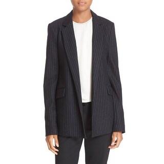 Theory NEW Black Womens Size 2 Sedeia Pinstripe Open-Front Blazer