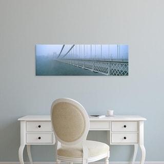 Easy Art Prints Panoramic Image 'Fog covered bridge, Clifton Suspension Bridge, Bristol, England' Canvas Art