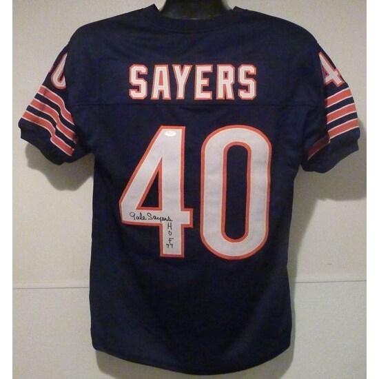 Gale Sayers Autographed Chicago Bears Custom Size XL Blue Jersey HOF 77 JSA