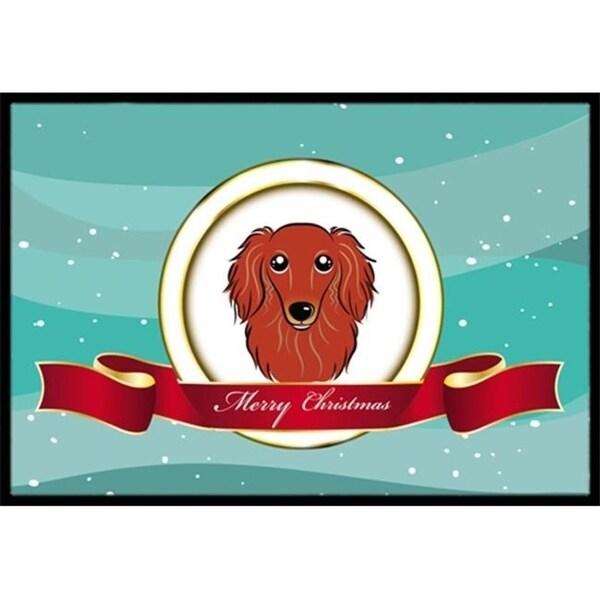 Carolines Treasures BB1524JMAT Longhair Red Dachshund Merry Christmas Indoor & Outdoor Mat 24 x 36 in.