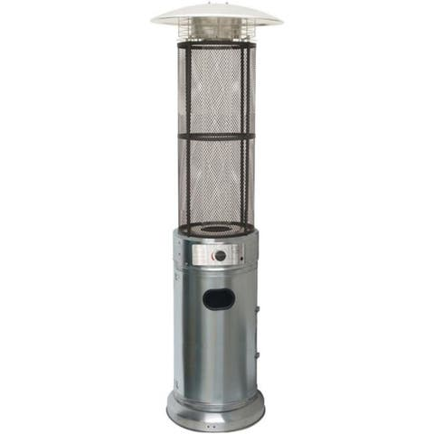 Hanover HAN030SSCL 7 ft. 34000 BTU Cylinder Flame Glass Patio Heater Propane Stainless Steel