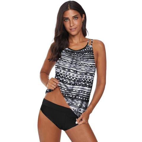 Cali Chic Women's Two Piece Swimsuit Celebrity Black Print Criss Cross Hollow-out Tankini Swimwear