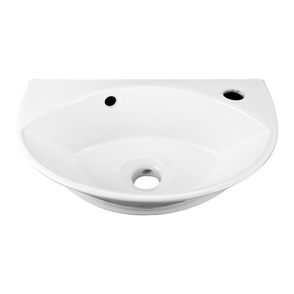 Renovator S Supply Small White Porcelain Wall Mount Bathroom Sink With Overflow Overstock 12636451