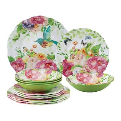 UPware 12-Piece Rose Garden Melamine Dinnerware Set