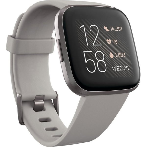 Fitbit - Versa 2 Smartwatch 40mm Aluminum - Black/Carbon with Silicone Band. Opens flyout.