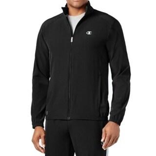 Champion NEW Black Men's Size Large L Full Zip Logo-Front Sweater