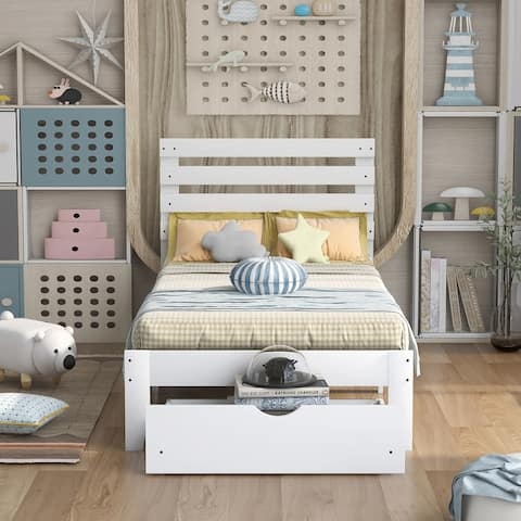Twin Size Platform Bed For Toddler with Drawer