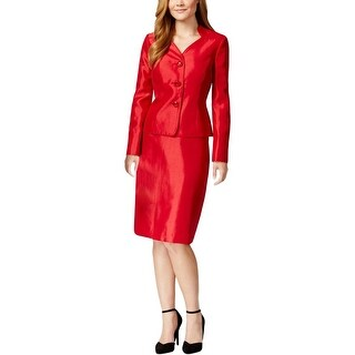 Le Suit Womens Prague Skirt Suit Shimmer Collarless