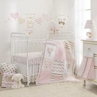 Lambs & Ivy Baby Love Metallic Gold/Pink/White Hearts, Stripes and Chevrons 6-Piece Nursery Crib Bedding Set
