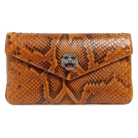 Gucci Womens Broadway Genuine Envelope Cognac Python Skin Leather Clutch
