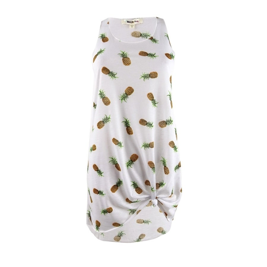 Miken Womens Pineapple-Print Tank Dress Swim Cover-Up - White Kiwi