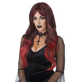 Womens Color Bleed Vampire Black & Red Wig