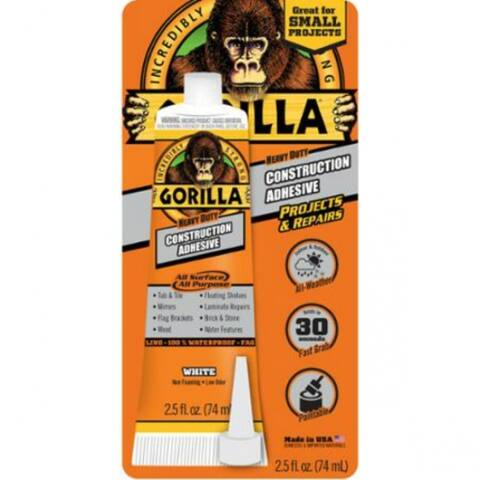 Gorilla 8020002 Heavy-Duty Construction Adhesive, White, 2.5 Oz