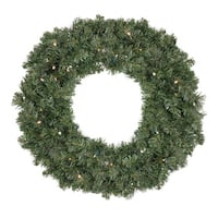"""30"""" B/O Pre-Lit LED Canadian Pine Artificial Christmas Wreath - Clear Lights - green"""