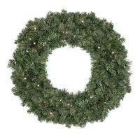 "36"" B/O Pre-Lit LED Canadian Pine Artificial Christmas Wreath - Clear Lights - green"
