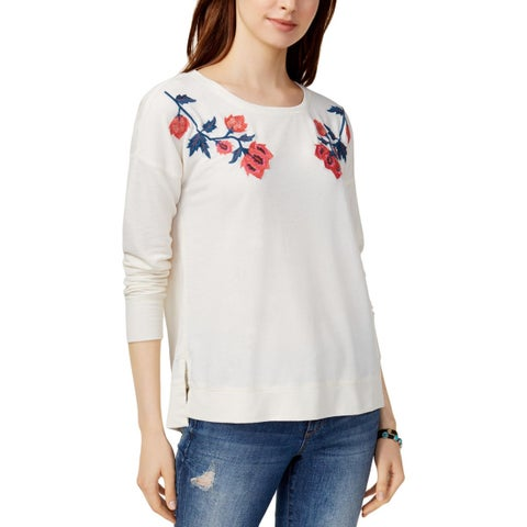 Lucky Brand Womens Sweatshirt Casual Embroidered
