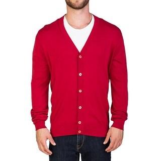 Prada Men's Cotton Cardigan Sweater Red