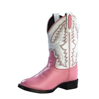 Old West Cowboy Boots Girls Kids Leather Round TPR Pink White 1901