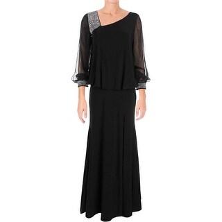Betsy & Adam Womens Semi-Formal Dress Blouson Beaded