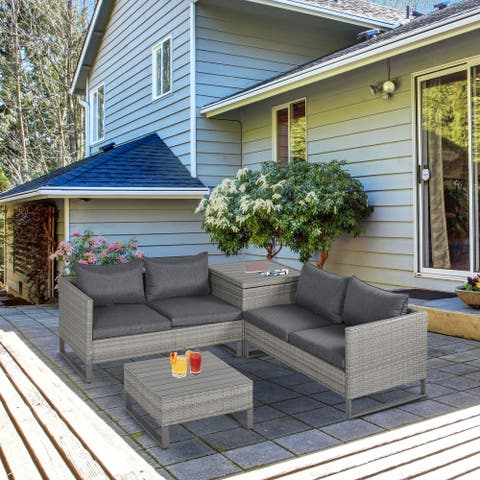 Outsunny 4-Piece PE Rattan Wicker Outdoor Sofa Set with Washable Comfort Cushions, Steel Frame, & Modern Design, Grey