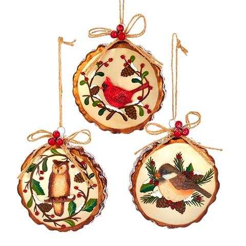 Woodland Birds Owl Cardinal Chickadee Christmas Holiday Ornaments Set of 3