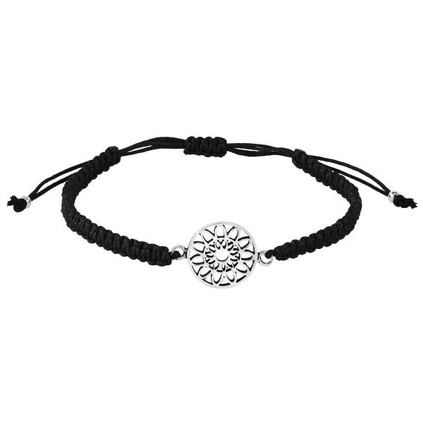 Handmade Healing Mandala Flower Sterling Silver Cotton Rope Adjustable Bracelet (Thailand). Opens flyout.