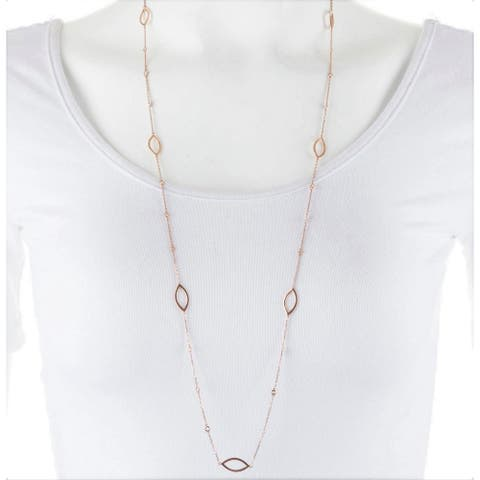 """Diamond Station Necklace 14K Rose Gold 3/4 CT TDW 34"""" by Joelle Collection"""