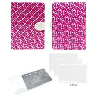 JAVOedge Pink Spiral RFID Blocking Passport Case - pink swirl