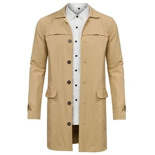 Mens Single Breasted Slim Fit Long Check Trench Coat Color Stitching Overcoat