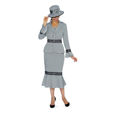 Giovanna Signature Women's 2-pc Polka Dot Brocade Suit