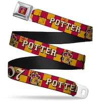 Gryffindor Crest Full Color Red Gryffindor Crest Potter 07 Checker Gold Red Seatbelt Belt