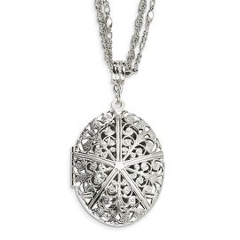 Silvertone Oval Locket on Double Chain Necklace - 16in